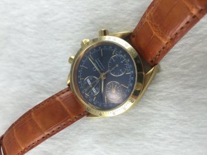 Omega Speedmaster Chronograph Triple Date Automatic solid 18k gold Cal1151 Sea Blue dial