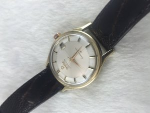 """Omega Constellation Pie Pan Chronometer Automatic """"dog leg"""" solid 14k gold Cal561 dial's Cross"""