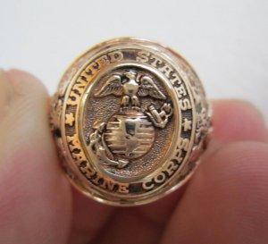 Nhẫn 10K, Thủy quân lục chiến thế chiến thứ I, II, vàng nguyên khối đẹp xuất sắc