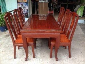 Bộ bàn ăn 6 ghế căm xe gõ