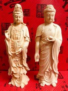 Giao lưu hai bức tượng: Phật tổ và quan âm bồ tát bằng gỗ hoàng dương thơm mát, đặc biệt rất tốt tro