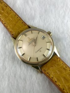"Omega Constellation Pie Pan Chronometer Automatic ""dog leg lugs"" demi 14k Cal564 Yellow dial"