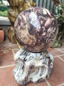 Bi cầu đá ngũ sắc(vân thổ cẩm) đường kính 38cm nặng 110kg
