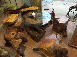 Bộ bàn ghế gỗ Pơ mu 7 món