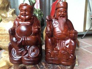 Thần tài-Thổ địa gỗ hương hàng sắc nét