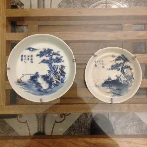 02 Đĩa sứ xưa tích Lã Vọng đk 10 & 8.5cm, giá 125k/2 ch