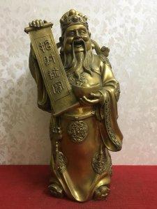 Thần Tài Gõ Cửa hàng to khủng rất đẹp và độc đáo, thần thái và có hồn.  Chất liệu: Đồng đúc. Kích th