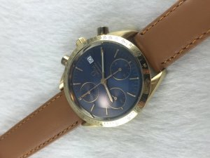 Omega Speedmaster Chronograph (Maison) Automatic solid 18k gold Cal1152 dial's Dark Blue