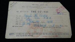 thẻ cử tri bầu cử Tổng Thống 1961