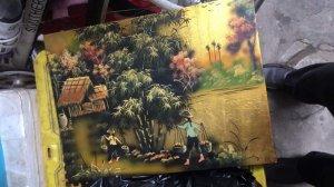 Bán 1 bức tranh ngày xưa thời bao cấp, cảnh gánh lúa đồng quê kích thước 30x45cm hàng râ