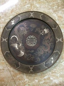mâm đồng chạm bạc,độc đáo ,đường kính 50cm