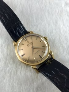 "Rare Omega Seamaster Chronometre Automatic ""spider leg lugs"" solid 18k gold Case & Dial 18k Cal501"