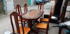 bộ bàn ăn gõ đỏ 6 ghế