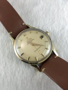 Omega Constellation Pie Pan Chronometer Automatic demi 14k Cal564 Yellow Sand dial