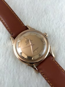Omega Deluxe Constellation Pie Pan Chronometre Auto solid 18k Rose gold Case & Dial Arrowhead 505