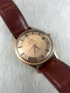 "Omega Constellation Pie Pan Chronometer Automatic ""dog leg lugs"" solid 18k Rose gold Case & Dial"