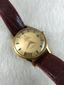 """Omega Constellation Pie Pan Chronometer Automatic """"dog leg lug"""" solid 18k gold Case & Dial"""