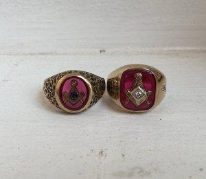 Giao lưu nhanh 2 chiếc Nhẫn Masonic hột đỏ khảm vàng biểu tượng Masonic, sang trọng, lĩnh lãm