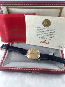 Omega Seamaster Deville Automatic solid 14k gold Case & Dial 18k Cal550 Fullbox/Paper