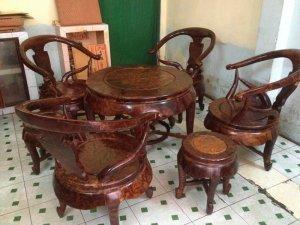 Bộ ghế gỗ nu nghiến 7 món