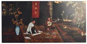 Tranh sơn mài vẽ cảnh một số nhạc sĩ trẻ của Việt Nam từ những năm 1964.