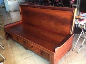 Ghế kéo thành giường xưa mặt gõ khung cẩm size đại