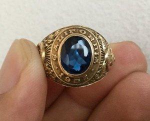 Nhẫn 10K, hột xanh topaz, họa tiết rất nét, size 18.5, năm 1957.