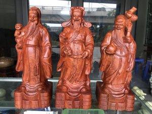 MS 9074.Tam đa PHÚC LỘC THỌ gỗ hương đá,cao 40cm