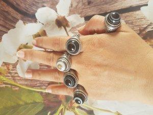 Nhẫn hợp kim và đá lạt ma dzi beads.Ni 1,9cm(ni linh hoạt). G