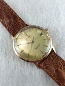 Omega Seamaster Deville Automatic solid 18k Pink gold Cal562 Yellow Cross dial