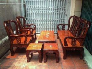 Bộ ghế gỗ căm xe tay 8 mặt dày 2 phân