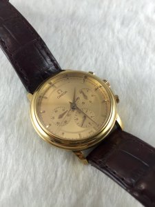 Omega Prestige Chronograph Mechanic solid 18k gold Cal1861 Golden Color dial