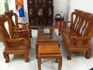 Bộ ghế gỗ gõ 6 món tay 10