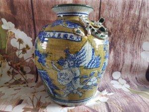 Bình gốm hoa lam (gốm thanh hoa) đại Nguyên quốc thời vua Nguyên Huệ Tông 1320-1370(niên đại 600 năm