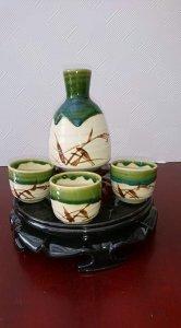Set sake 1 bình 3 ly, hàng men chảy của Nhật