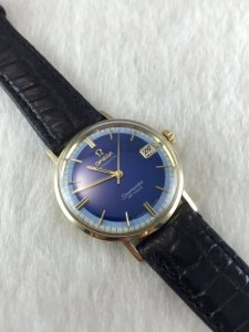 Omega Seamaster Deville Automatic solid 14k gold Cal560 dial's Blue 2 tone