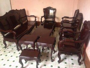 Bộ ghế gỗ gõ louis 9 món lâu năm