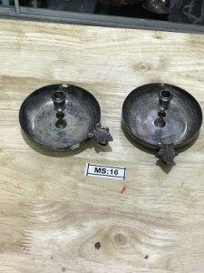 Cặp Chân Nến (MS16) Lắc Kê Bạc - Đồ Xưa - hàng xách tay Từ Mỹ