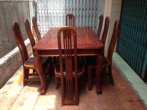 Bàn ăn gỗ căm xe lâu năm 8 ghế