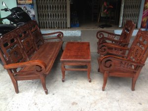 Bộ ghế 4 món gỗ khung cẩm mặt gõ