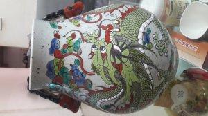 Cặp bình cổ trung hoa thời ung chính vẽ rồng có tai đầu hươu chuẩn cổ hiếm