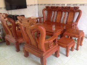 Bộ ghế tay 10 gỗ gõ đỏ 6 món