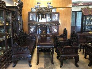 Bộ bàn ghế chạm tích Đồng Quê