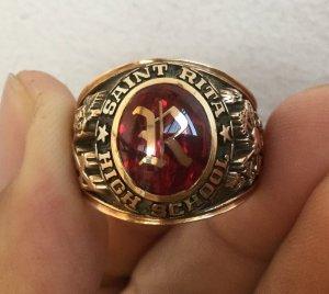 Nhẫn 10Khột đỏ khảm vàng chữ R,...