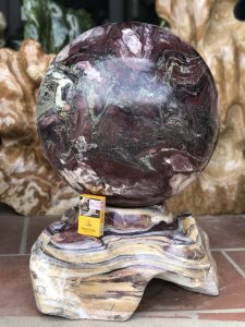 Ms 9193.Cầu đá thổ cẩm tự nhiên vân ngũ sắc đẹp,đườn g kính 46,5cm