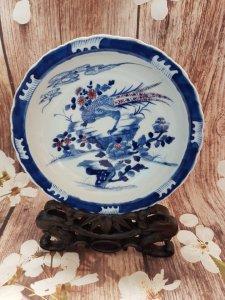Đại Thanh Khang Hy niên chế:Đĩa chim trĩ hoa cúc gốm hoa lam,chấm huyết đĩa,men chàm nâu ít gặp.