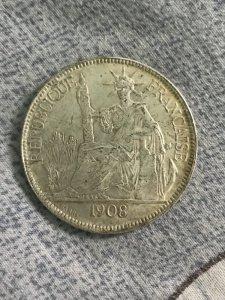 Đồng xu bạc cổ 1908 Đông dương...