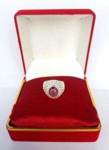 Nhẫn bạc nguyên khối đính đá ruby quý hiếm hội xuân độ Phone : 0938 179 545