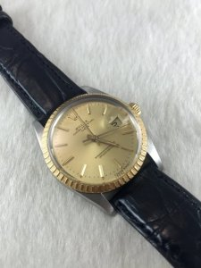 Rolex Datejust Automatic model 15053 demi 18k gold Cal3035 Yellow dial