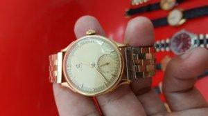 Omega vỏ vàng khối 18k kim rốn xưa chính hãng